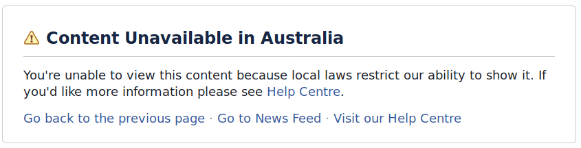 Content Unavailable in Australia